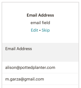 exemple-email field (champ e-mail)-importer des contacts