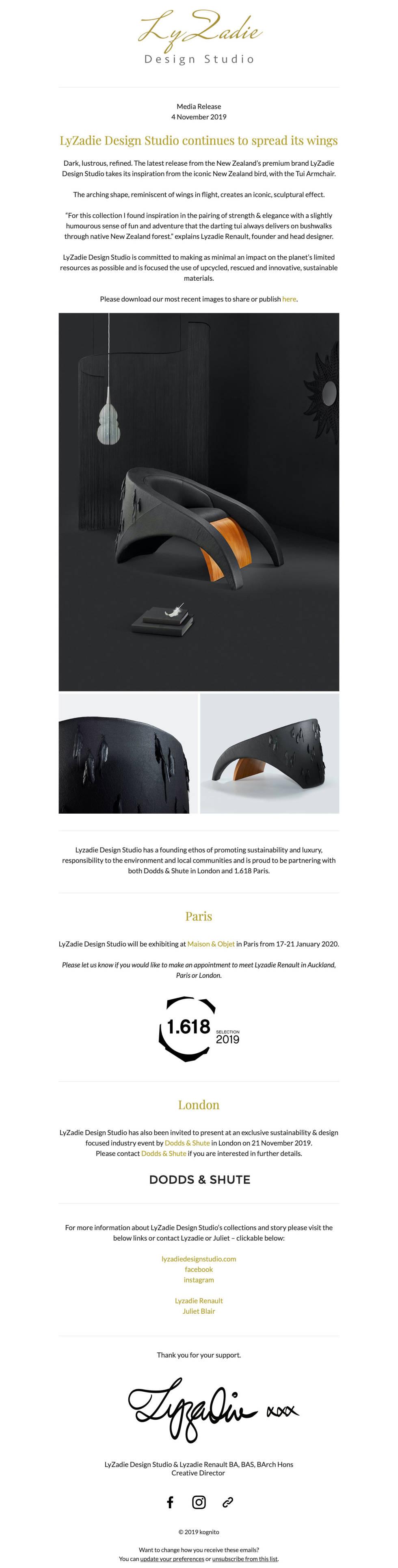 Image of Lyzadie design studio media release