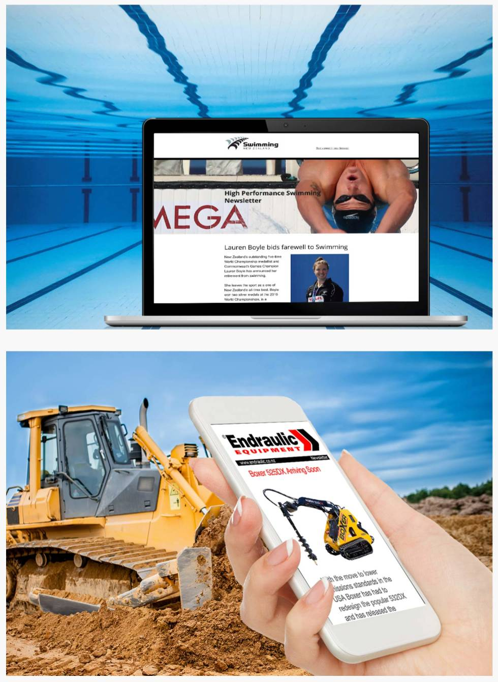 Image split in half horizontally. Top half features laptop against a swimming pool background. Laptop displays a swimming website. Under, phone is held against background of construction site. Phone displays images of construction equipment.