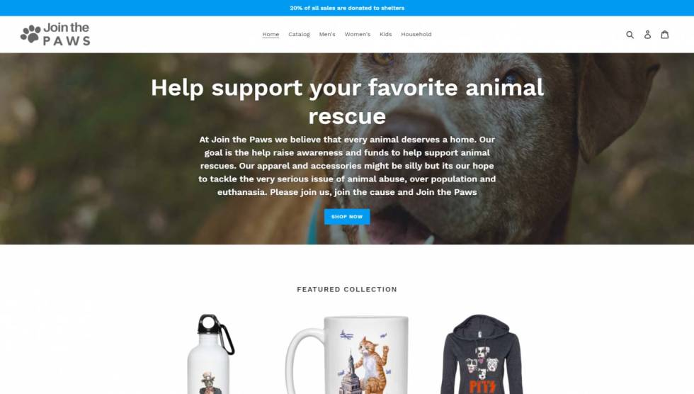 Image of Join the Paws shopify site with the text Help support your favorite animal rescue.