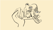 Illustration of a hand with the pinky sticking out while animals perch on the pinky