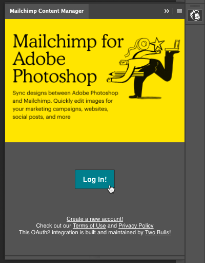 Cursor Clicks - Log In - Mailchimp Adobe Photoshop Extension
