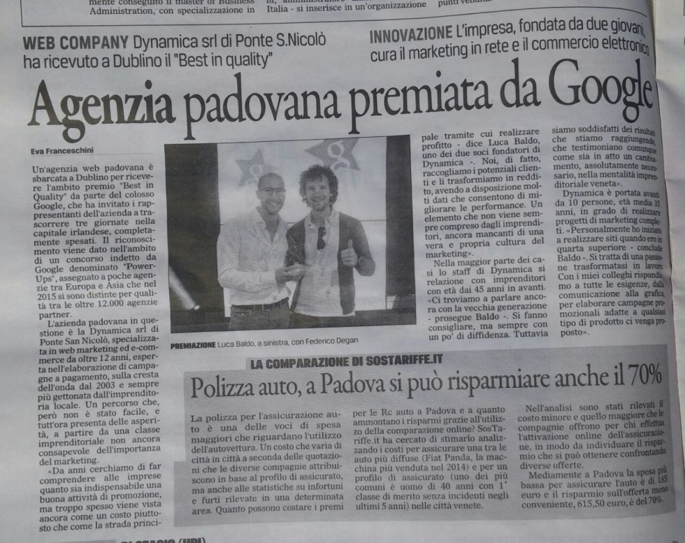Image of Italian newspaper clipping