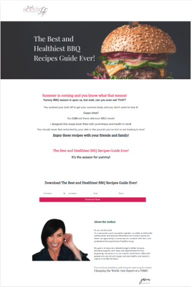Image of a landing page with a burger that says The best and healthiest BBQ recipes guide ever!