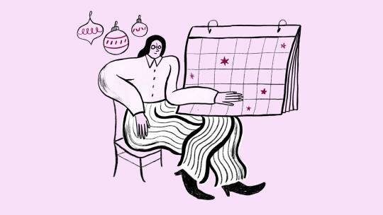 Illustration of a woman looking at a calendar