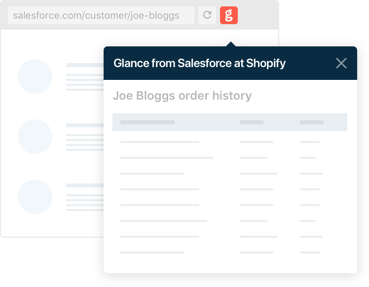 Image of textbox with the text Glance from Salesforce at shopify