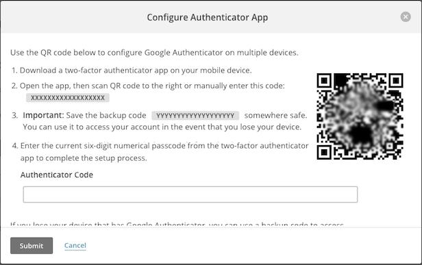 La pantalla modal de Google Authenticator se activa con el cursor haciendo clic en Submit (Enviar).