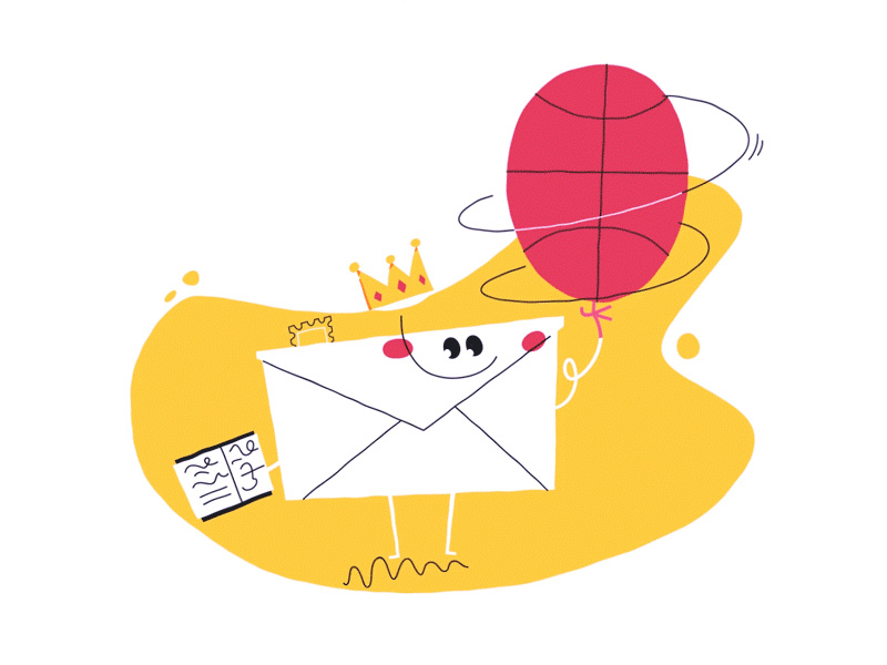 An envelope spinning a basketball