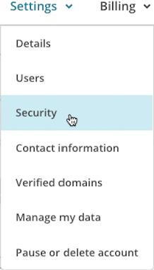 Cursor clicks security from settings drop-down menu.
