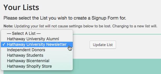image: a screenshot of the settings page, where you select your mailchimp list