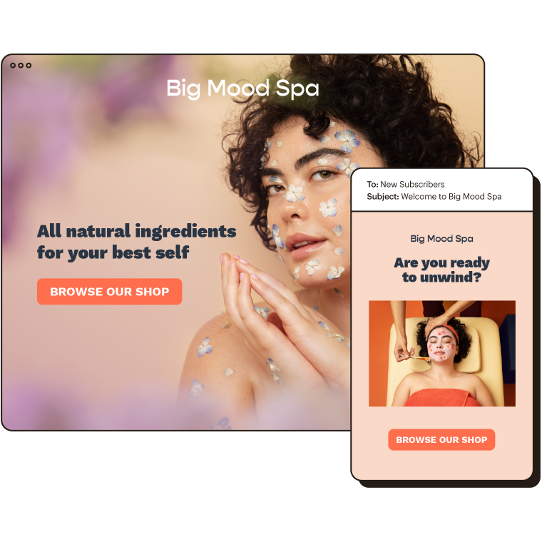 Big Mood Spa's online store, shown beside an example of an email automation sent to new subscribers.
