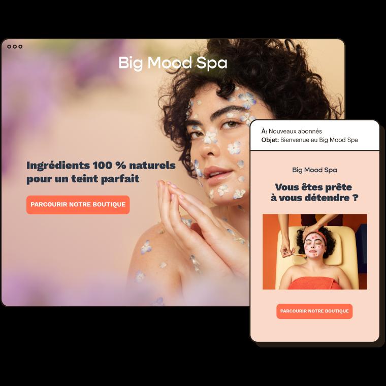 Boutique en ligne du spa Bonne humeur, affichée à côté d'un exemple d'e-mail automatique envoyé aux nouveaux abonnés.