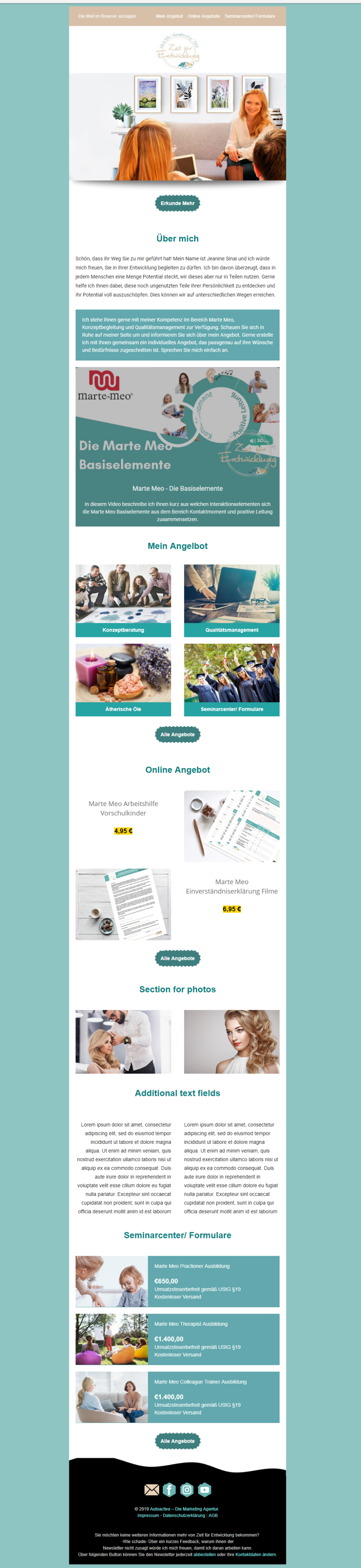 Email newsletter template in German. Colors include mint green, turquoise, white, green. Template includes block of text, images, graphic design, branding.