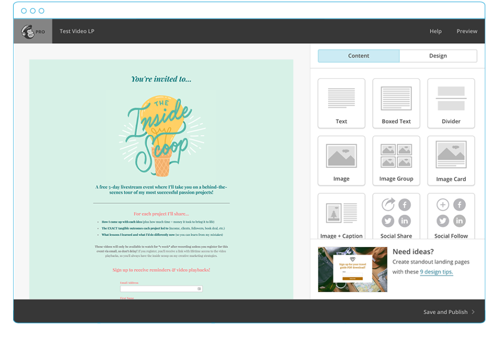 An image of Lauren's page in the MailChimp landing page builder.
