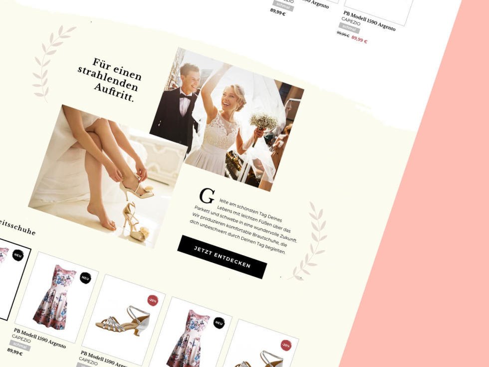 Zoomed in screenshot showing part of an e-commerce site for evening wear against a pink background. Images of the product side by side and images of a wedding couple dancing and a woman putting on high heels. Accompanying text boxes and hyperlink buttons.
