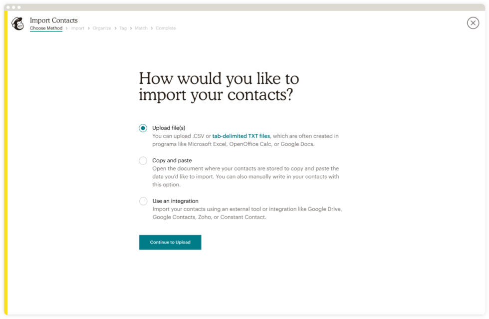 An example of how you import your contacts with Mailchimp