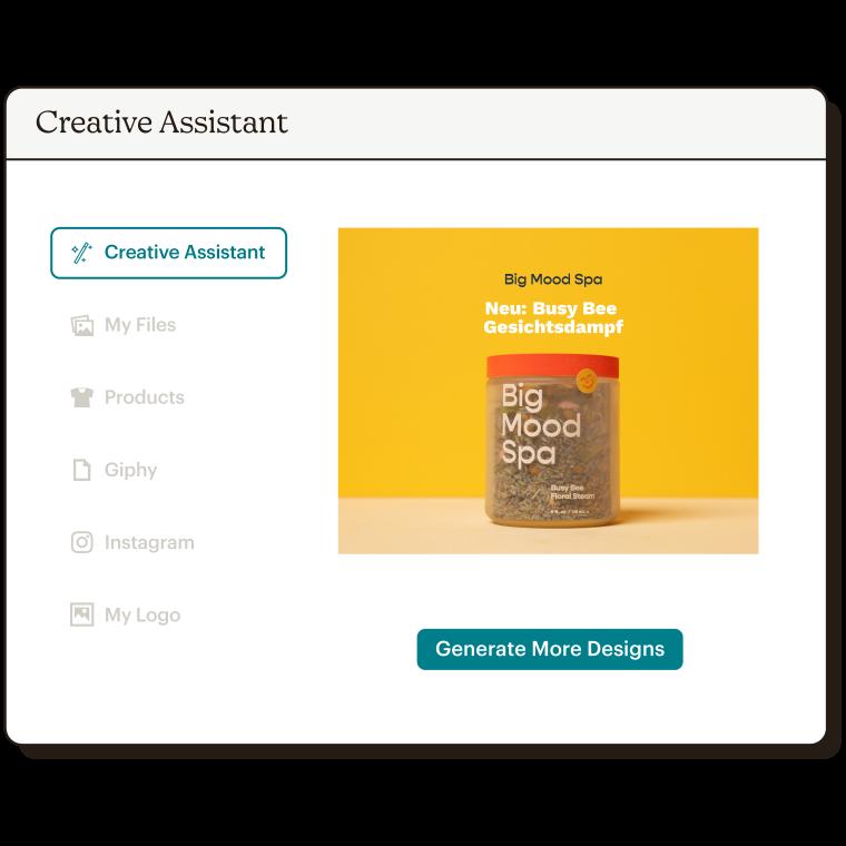 Ein Beispiel, in dem das Creative-Assistant-Tool eine Werbeanzeige für Big Mood Spa generiert.