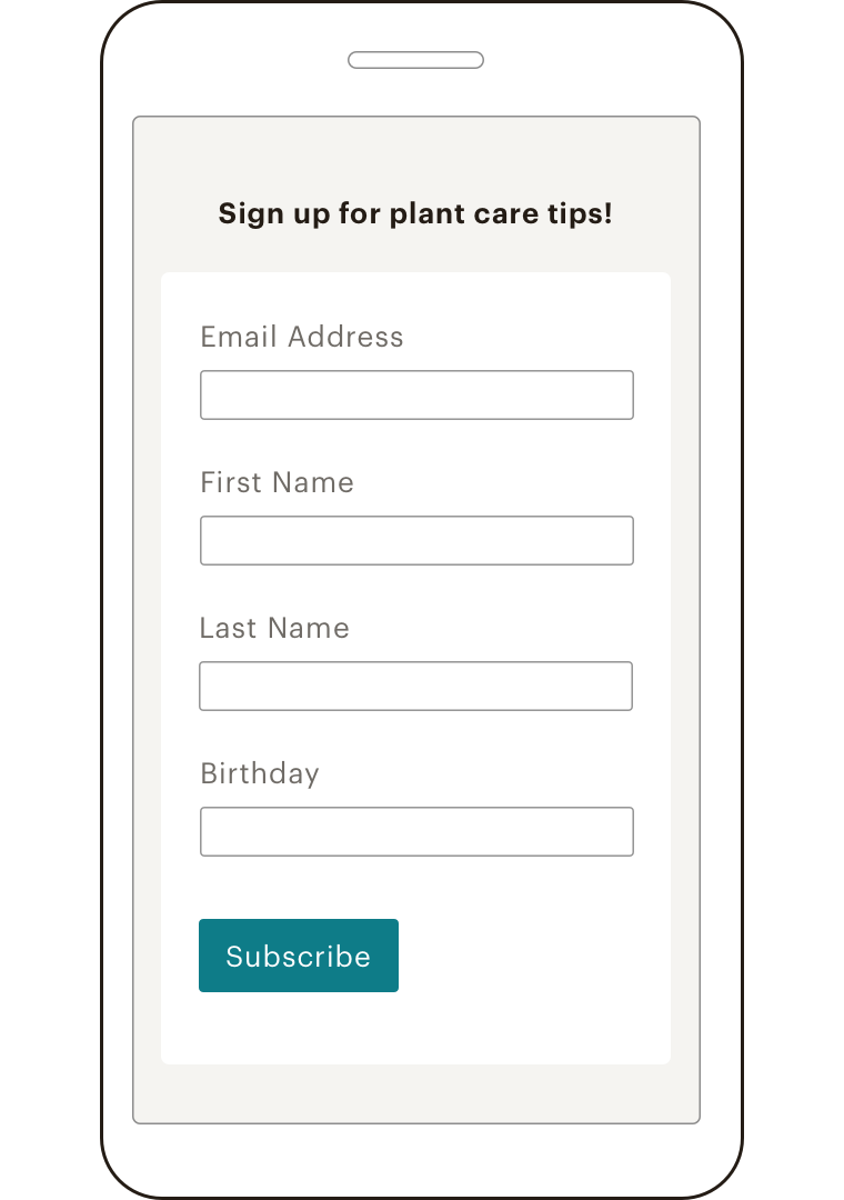 A mobile view of the Mailchimp App displaying a signup form to subscribe to a plant care tips newsletter