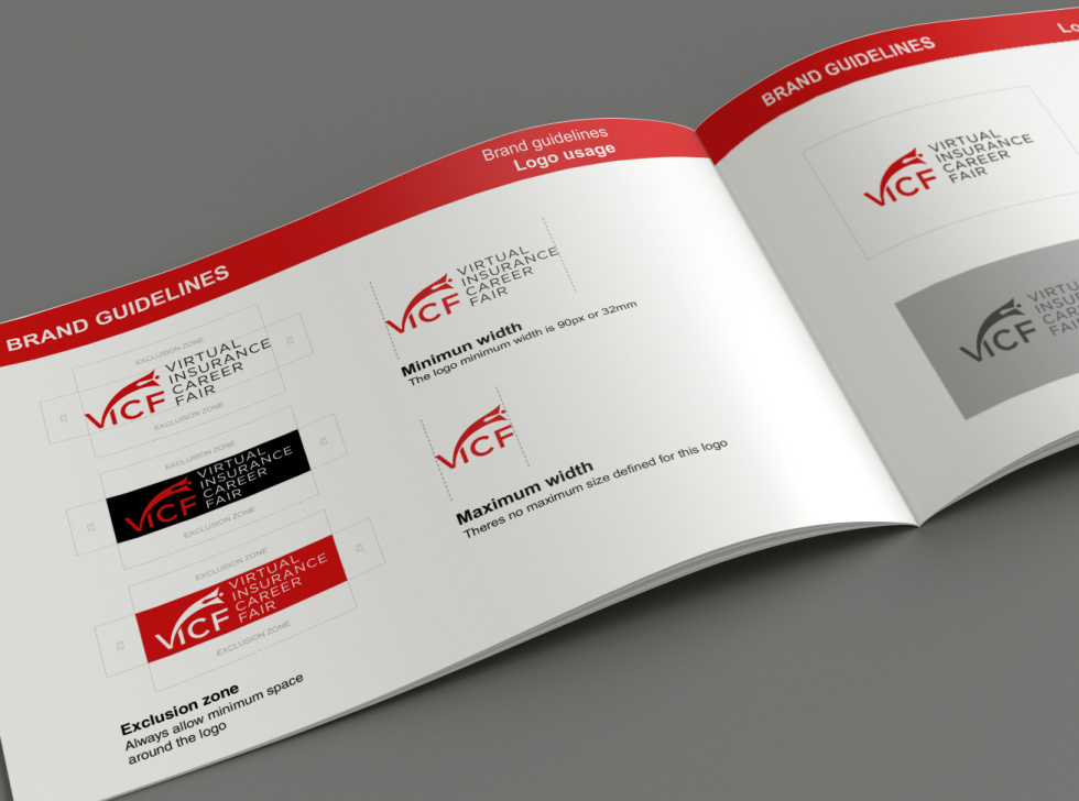 An open tech handbook featuring brand guideline examples on both pages in red, white, and black colors.