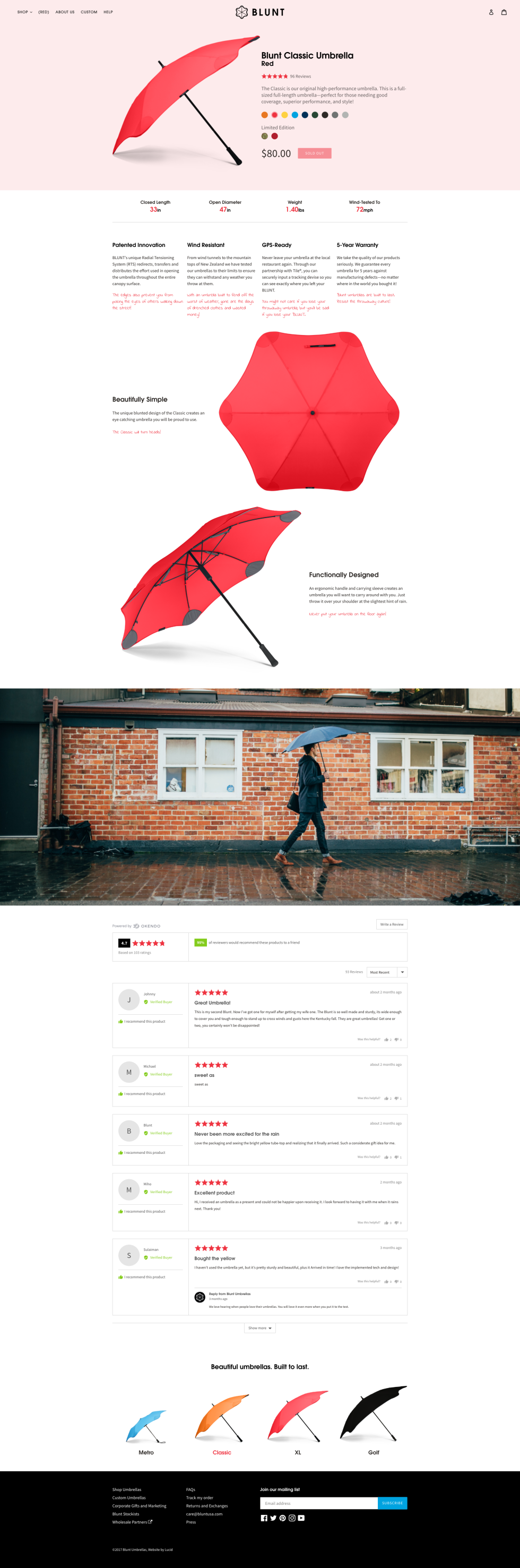 Image of Blunt Umbrellas website