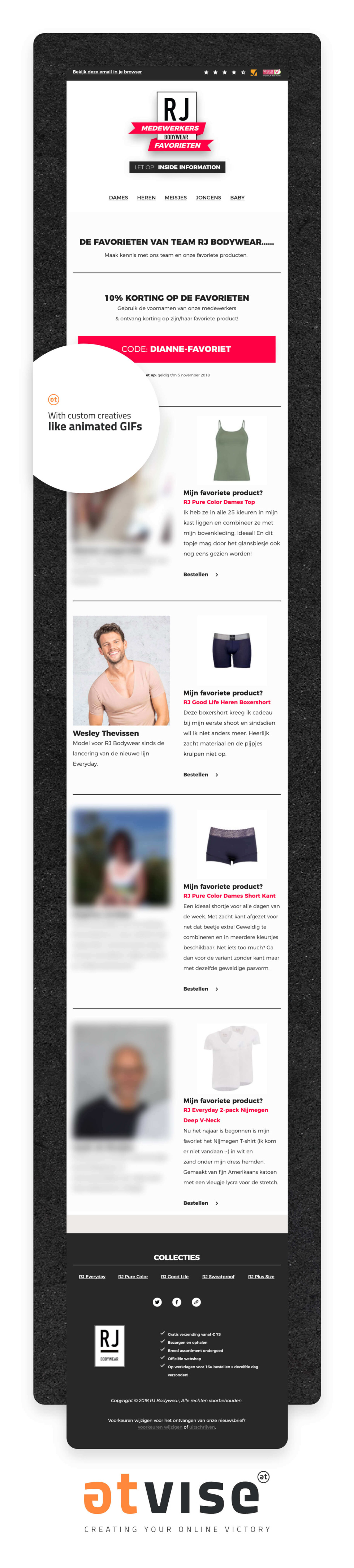Newsletter template in email featuring clothing products. Images of happy people modeling clothes with supporting text describing products.
