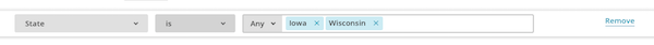 Screen of condition for State is, with Iowa and Wisconsin in the text field.