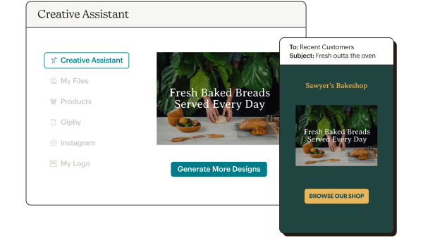 Creative Assistant Abstract UI Sawyer's Bakeshop Static