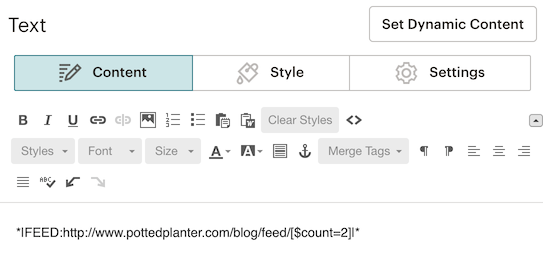 A screenshot of a feed merge tag in the editing pane of the campaign builder
