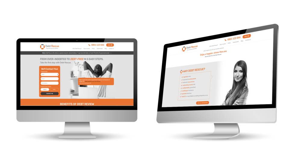 Image of 2 desktop screens showing Debt Rescue's website