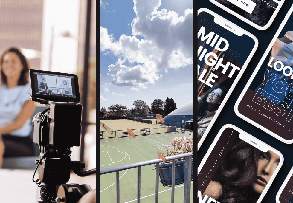 Image of a camera a tennis court then images on cellphones