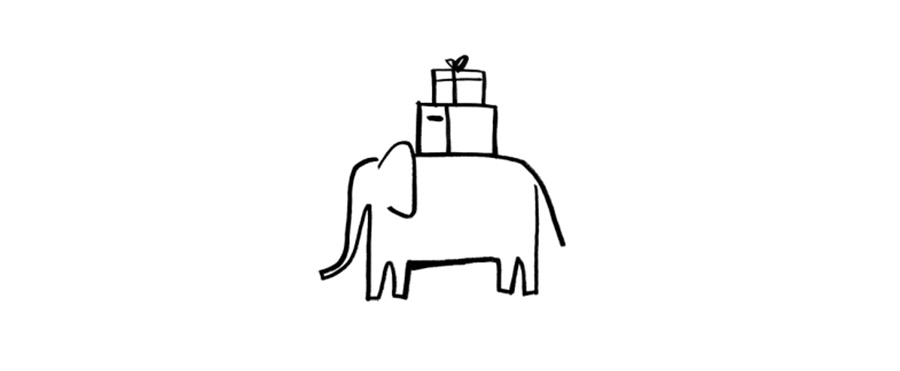 A drawing of an elephant with some packages and boxes on its back.