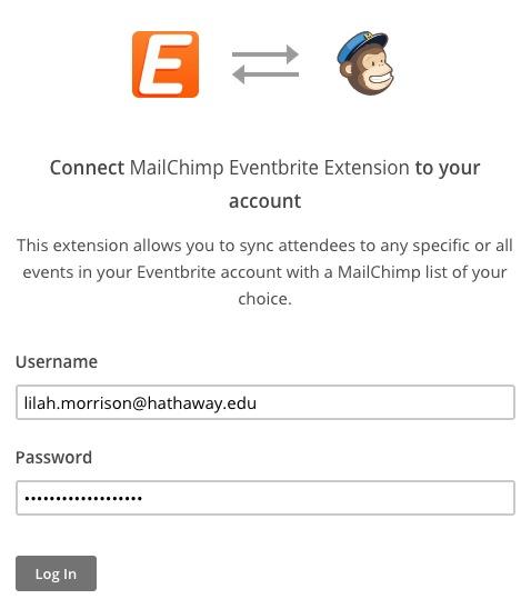 Datos de acceso introducidos en los campos nombre de usuario y contraseña para conectar Eventbrite con Mailchimp. El cursor hace clic en el botón para iniciar sesión.