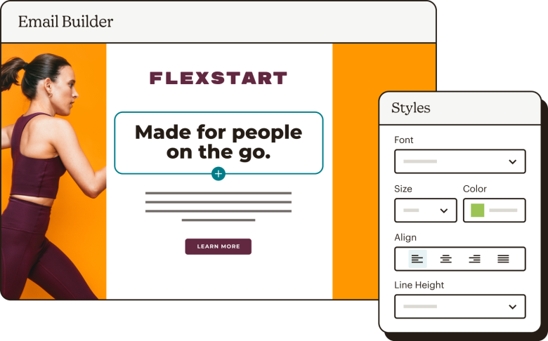 The email builder creating an email for Flexstart, with the Styles panel open.