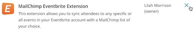 Cursor hovers over the X icon to delete the Mailchimp Eventbrite Extension option.