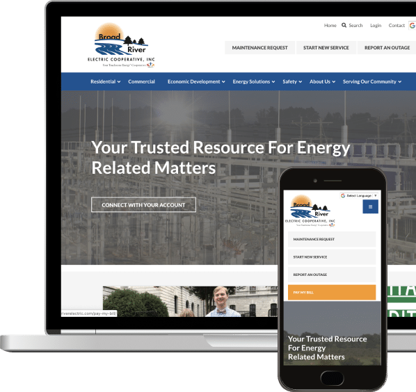 Website design displayed in Macbook and iPhone layout. Web design includes branding and logo at the top of page along with header links. Faded image of energy plant in background at center of page with overlaying text and link to contact organization.