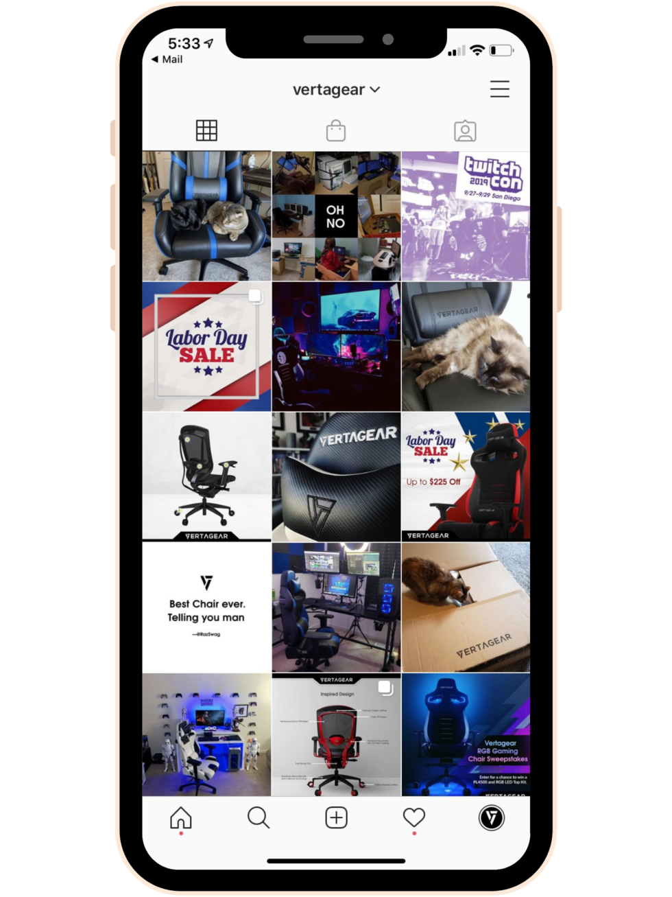 Mobile iPhone screenshot of Vertagear Instagram page. Instagram photos include photos of gaming chairs.