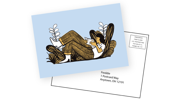 The front and back of a sample postcard.