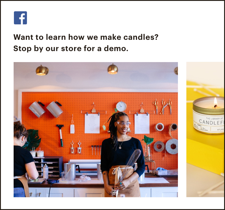 Abstract UI of a FB post that features some educational tips on a product