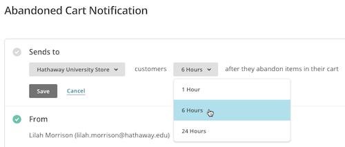 imagen del menú desplegable Hours (Horas) con el cursor