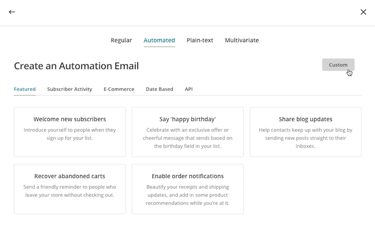 automation email create custom