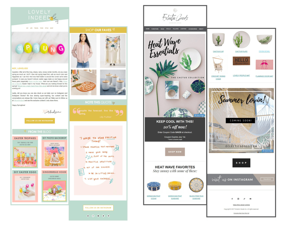 Various sample email template designs