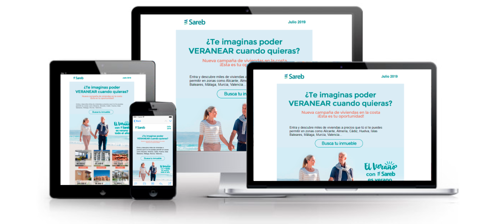 Image of Sareb newsletter on multiple devices