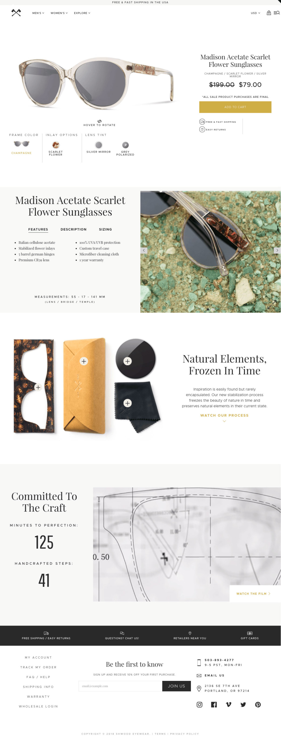 Template layout for eyewear company. White background with several images with and without borders of various eyewear. Navigation bar included and contact information at the bottom of the page in black text.