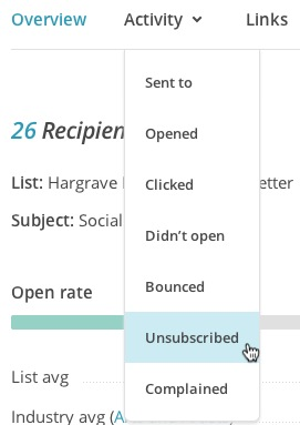 Choose Unsubscribed from Subscriber activity