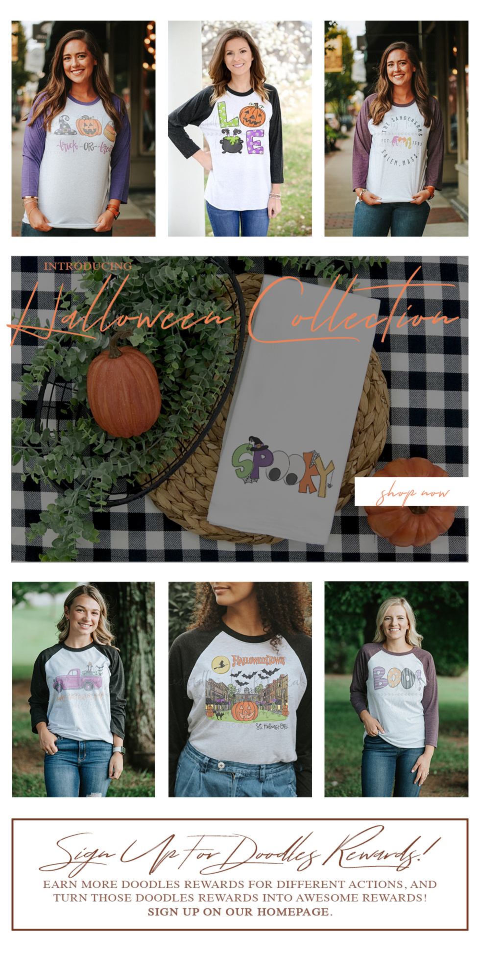 email campaign featuring models wearing halloween themed shirts