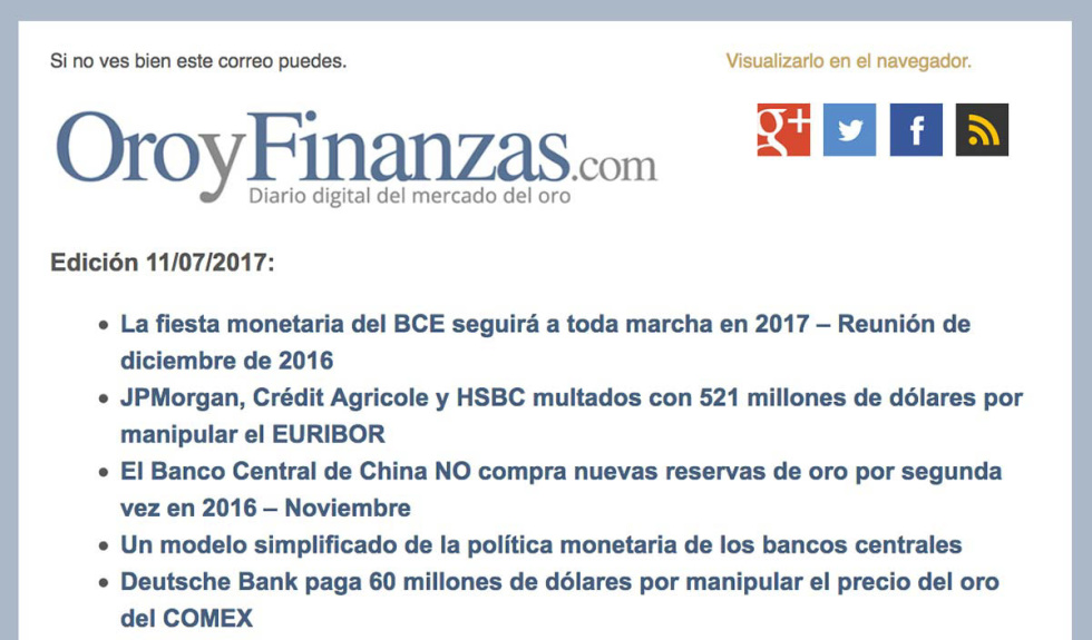 Image of oroyfinanzas.com newsletter