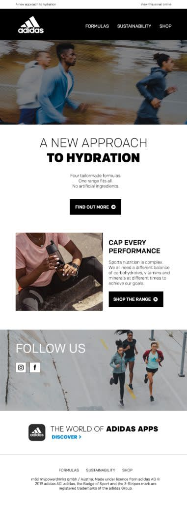A custom email template designed for Adidas with Mailchimp
