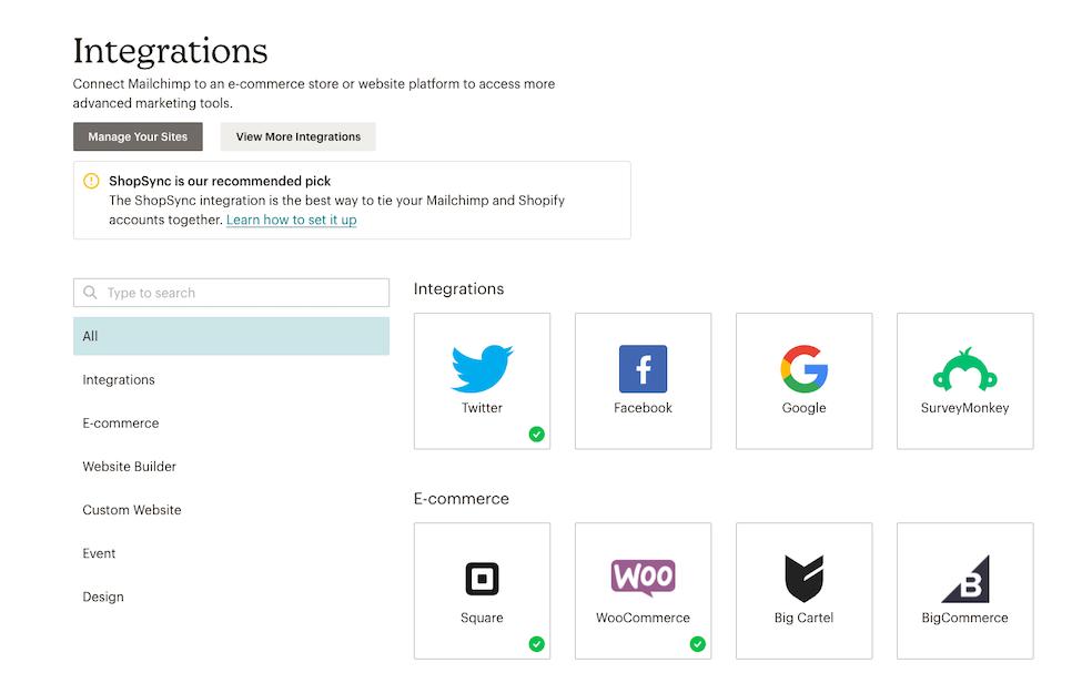 Integrations Page - Integration status