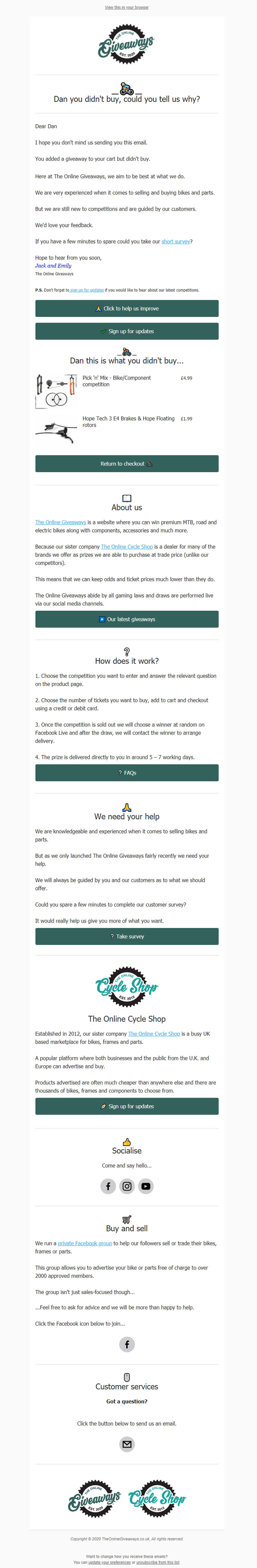 Personalised dropped checkout email with survey link