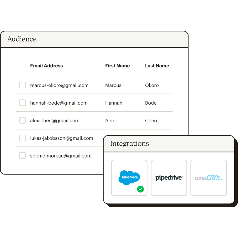 Audience list with audience integration options.